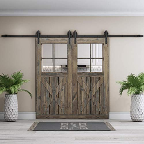 EaseLife 12 FT Double Door Heavy Duty Big Wheel Sliding Barn Door Hardware Track Kit - Ultra Hard Sturdy | Slide Smooth Quiet | Easy Install | Fit Two 30''~36'' Wide Door | 12FT Track Double Door Kit by EaseLife (Image #1)