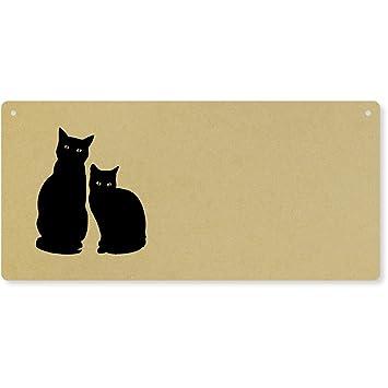 Par de gatos grandes de madera pared de placa/puerta señal (dp00019902