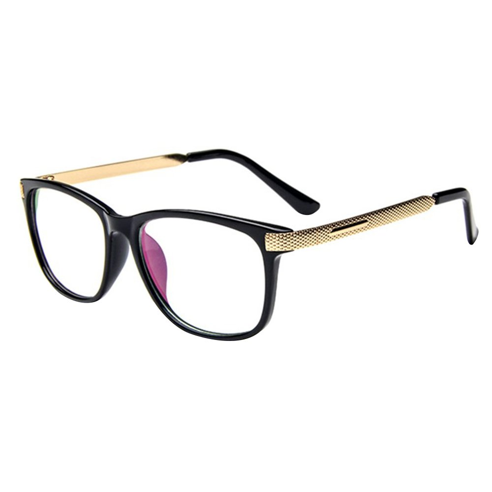 Forepin reg; Unisex Retro Square Frame Plain Glasses Clear Lens Metal Temple Spectacles - Style 6