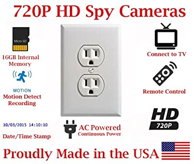 SecureGuard Power Receptacle Wall Outlet 720P Spy Camera SD Card DVR Nanny Camera (WHITE) by AES Spy Cameras