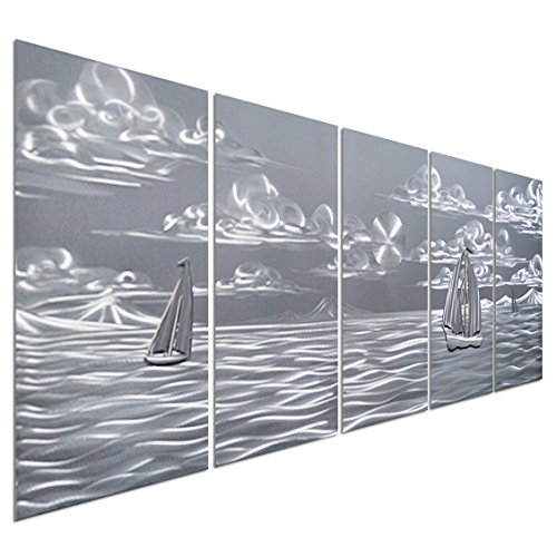 Pure Art Silver Nautical Sea Boats - Large Beach Metal Wall Art Decor - Set of 5 Contemporary Panels Sculpture - 64