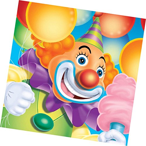"""Custom Made & Disposable {6.5"""" Inch} 16 Count of 2 Ply Mid Size Square Food & Beverage Napkins, Made of Soft Absorbent Paper w/ Colorful Clown Circus Birthday Classic Style {Pink, Black & White}"""