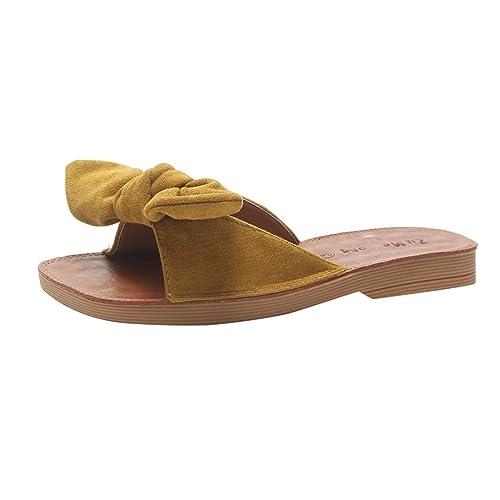 Sandalias Bohemias, Manadlian Sandalias de Moda de Mujer Color sólido Zapatillas Gamuza de Lazo de Ante Punta Cuadrada del talón Plano Sandalias ¡ Oferta de ...
