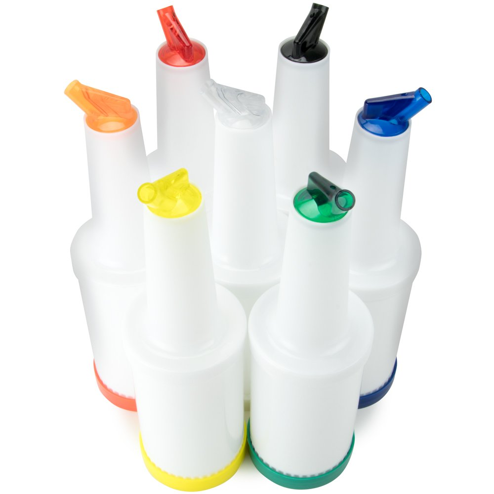 7 Pack of Colorful Juice Pouring Spout Bottle Containers – Mix, Pour, & Store, Plastic Barware by Cocktailor