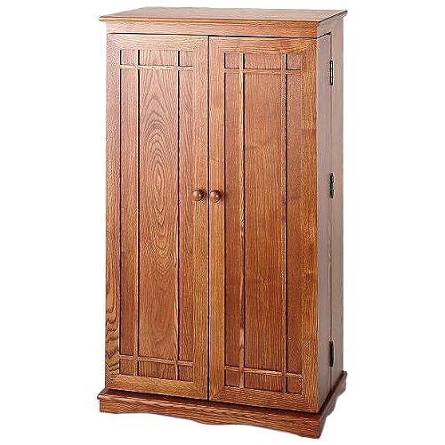 LDE LESLIE DAME Leslie Dame CD 612D Solid Oak Multimedia Storage Cabinet  With Classic Mission Style Doors, Dark Oak