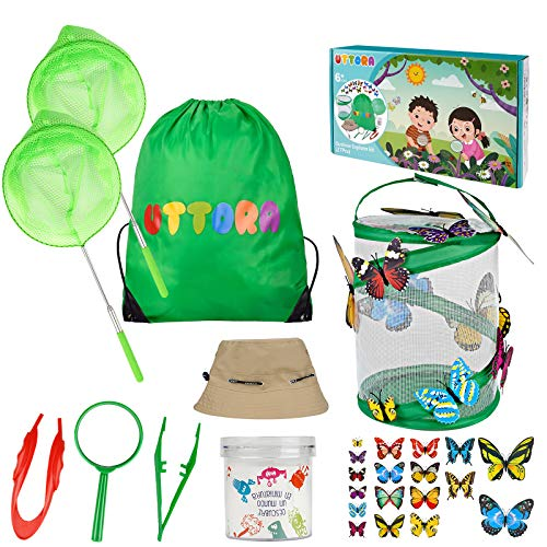 UTTORA Outdoor Spiele für Kinder, Schmetterlinge züchten mit Lupe, Insektensammelflasche Insektennetz, Hut, Schmetterlingsmodell, Schmetterlinge Züchten Kinder Outdoor Bildungs Kit (27 PCS)