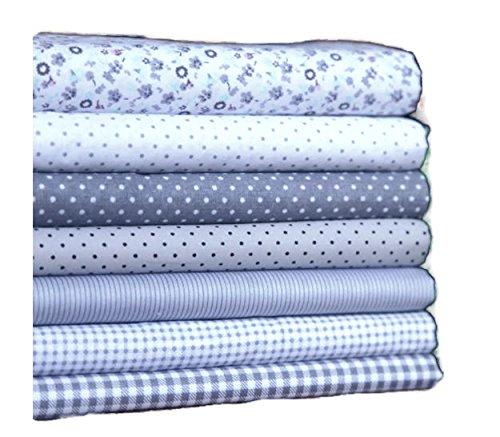 Gray 7 Assorted Pre-Cut Twill Cotton Quilt Fabric Fat Quarter Tissue Bundle Size: 45x45 cm]()