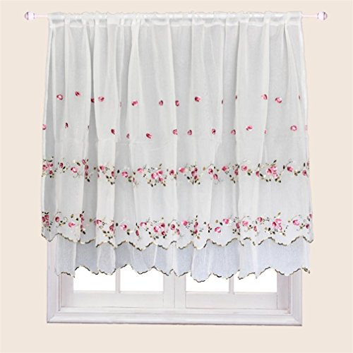 ZHH Floral Window Valance Two-layer Handmade Embroidered Cafe Curtain 33 by 57-Inch, Pink Rose Pattern on White Review