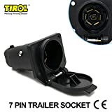 TIROL 7 Pin Trailer Plastic Socket 7 Way Round Trailer Connector Female 12V Towbar Towing - Vehicle End