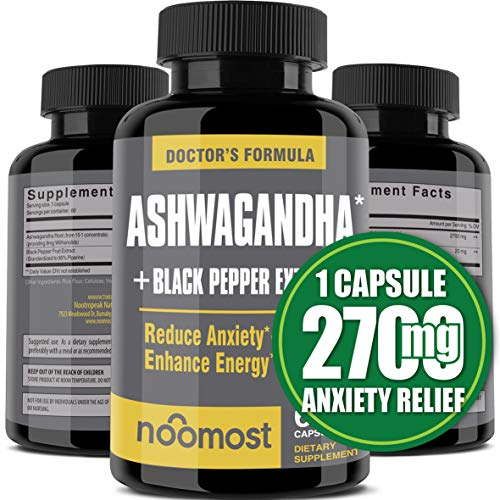Ashwagandha Capsules 2700mg, 100% Pure Ashwagandha Root Powder & Black Pepper Extract Helps Natural Anxiety Relief for…