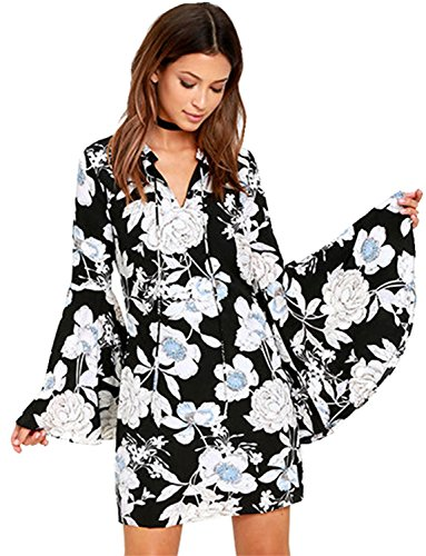 Sexy Trumpet Bell Flare Sleeve Floral Mini Shift A Line Dress Black