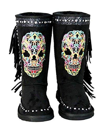 Montana West Rhinestone Fringe Sugar Skull Day of The Dead Winter Boots Gothic Biker Black (8, Multi)