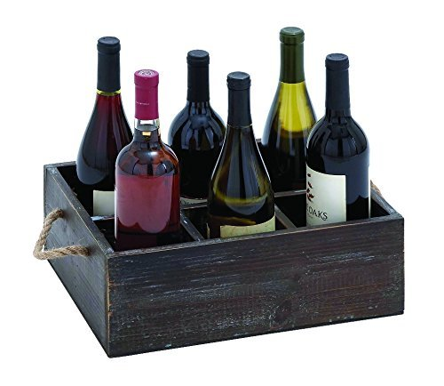 Benzara 92328 Wine Tray Crafted with Six Storage Compartments