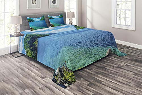 Ambesonne Nature Coverlet Set Queen Size, Scenic View Sea Bay and Mountain Islands in Palawan Philippines Idyllic Image, 3 Piece Decorative Quilted Bedspread Set with 2 Pillow Shams, Blue Green White