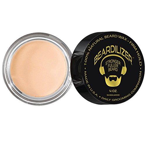 Beardilizer ® Beard Growth All Natural Beard Wax - Hypoallergenic Formula - Sandalwood - 4 oz