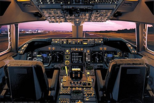 400 Boeing House (Laminated Boeing 747-400 Flight Deck Airplanes Poster 24x36)