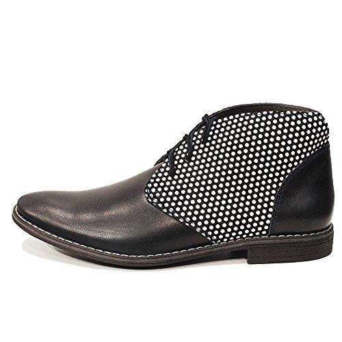 PeppeShoes Modello Dotto - Handmade Italiano da Uomo in Pelle Nero Chukka Boots - Vacchetta Pelle Morbido - Allacciare