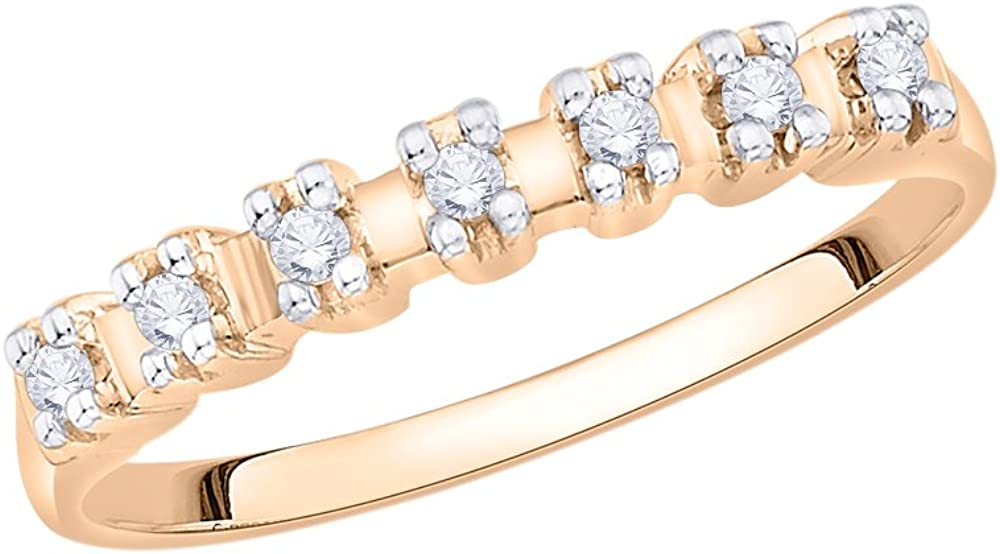 Diamond Wedding Band in 10K Pink Gold 1//10 cttw, Size-11 G-H,I2-I3