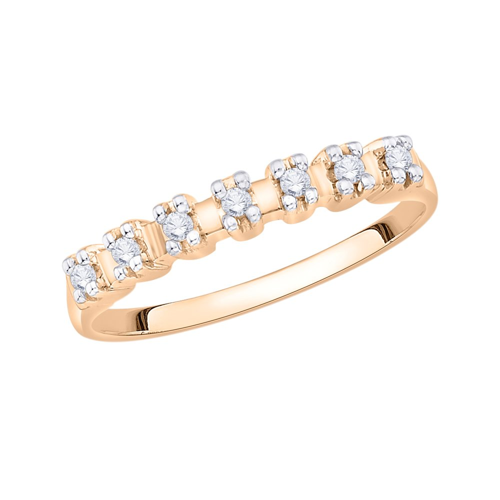 Size-5.75 1//10 cttw, Diamond Wedding Band in 14K Pink Gold G-H,I2-I3