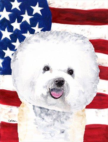 Bichon Frise Flag - Caroline's Treasures SC9014CHF USA American Flag with Bichon Frise Flag Canvas, Large, Multicolor