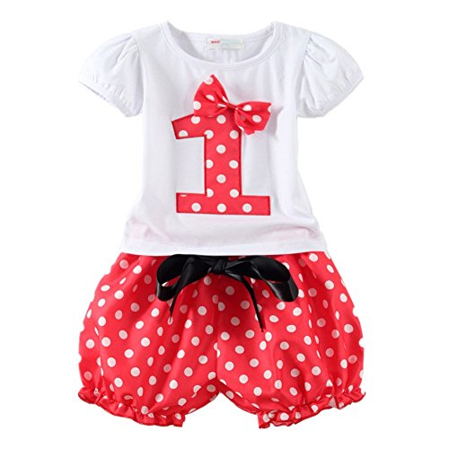LittleSpring Baby Girls' Clothing Set Shorts Skirt Birthday Size 1T Red-shorts-1 (First Halloween Outfit)