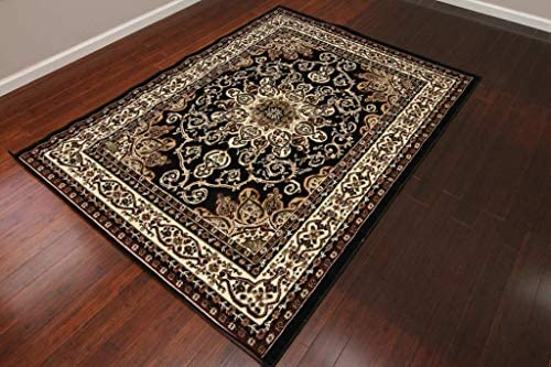 Generations New Black Oriental Traditional Isfahan Persian Area Rugs Rug 8023black 13 1 x 16