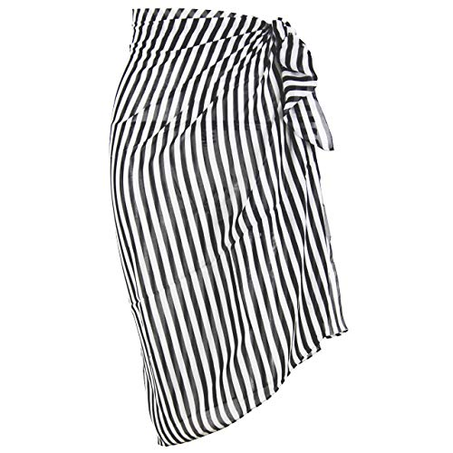 Swimsuit Cover up Sarong Chiffon Printed Beach Wrap (S03 Black White Stripes) ()