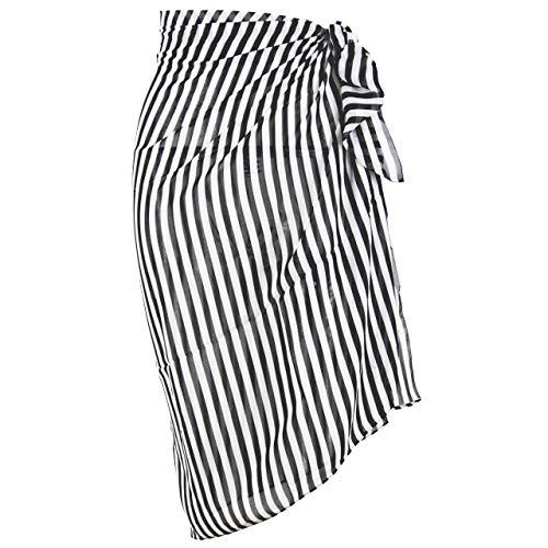 (Block Garden Women's Swimsuit Cover up Sarong Chiffon Printed Beach Wrap (S03 Black White Stripes))