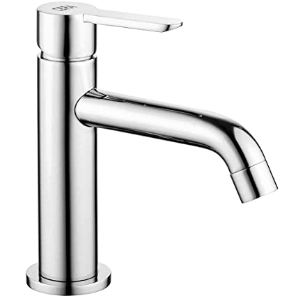 Cera Brass Chesley Single Lever Basin Mixer with Extended Spout and 450mm/Braided Connection Pipe Without Pop Up