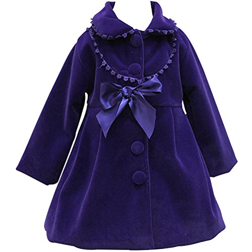 HBDesign Cute Imitation Wool Bowknot Girl Overcoat Dress Coat Outer Wear Winter Violet Size 12 ()