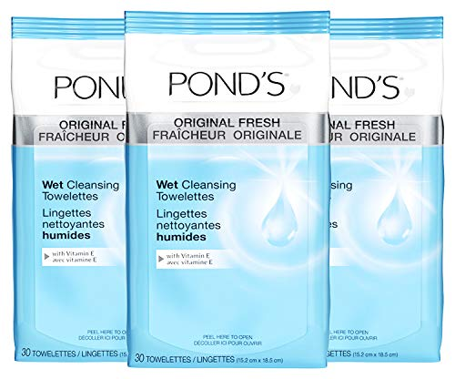 (Pond's Original Fresh Wet Cleansing Towelettes, With Vitamin E, 30 Towelettes (Pack of 3))