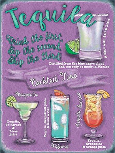 Cartel Metálico, diseño con texto Fun Tequila cóctel recetas ...