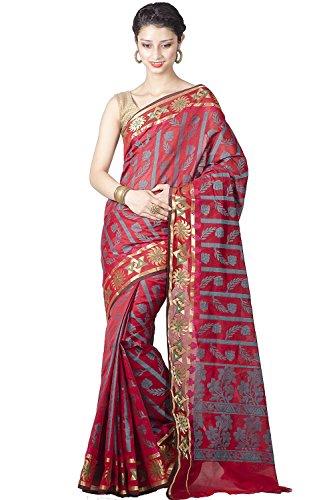 Chandrakala Women's Cotton Silk Banarasi Saree Free Size Red by Chandrakala