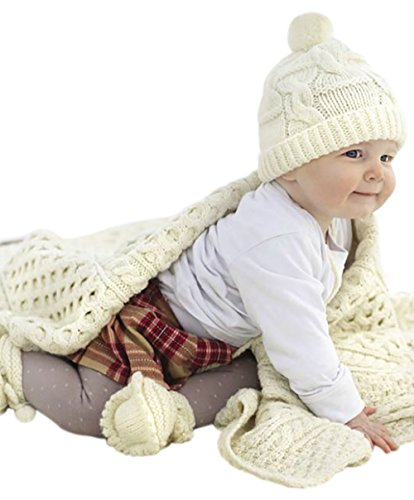 100% Irish Merino Wool Aran Baby Blanket by Carraig - Westport Clothing Stores