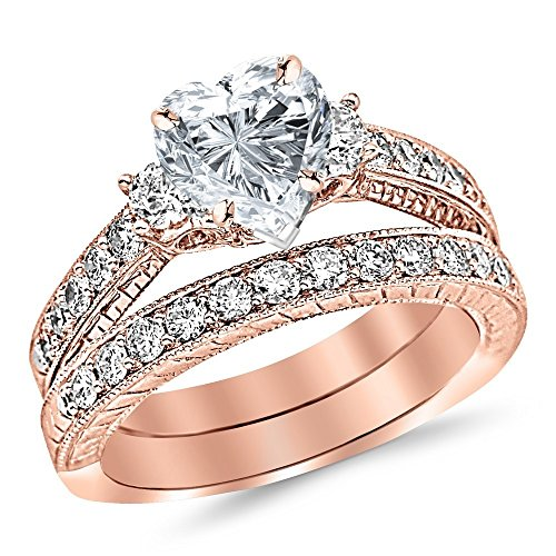 (14K White Gold 1.53 CTW Three Stone Vintage With Milgrain & Filigree Bridal Set with Wedding Band & Diamond Engagement Ring w/ 0.5 Ct Heart Cut I Color VS2 Clarity Center)