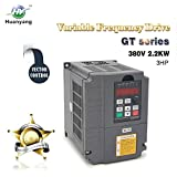 Vector Control CNC VFD Variable Frequency Drive Motor Drive Inverter Converter 380V 2.2KW 3HP For Spindle Motor Speed Control HUANYANG GT-Series (380V 2.2KW)