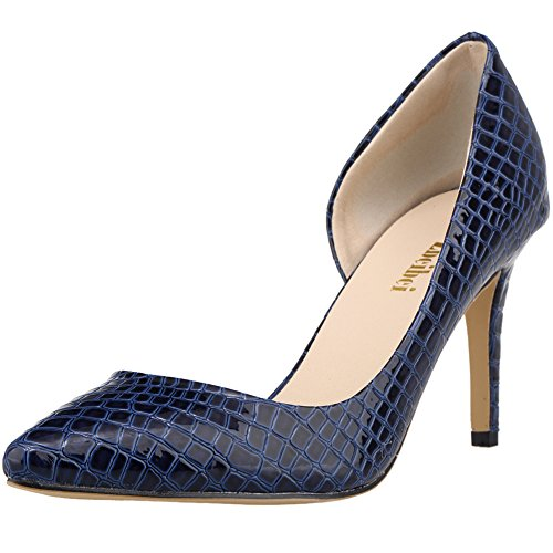 fereshte Women's Classic High Heels Pointed Toe PU Crocodile Design Stiletto Pumps Crocodile Blue