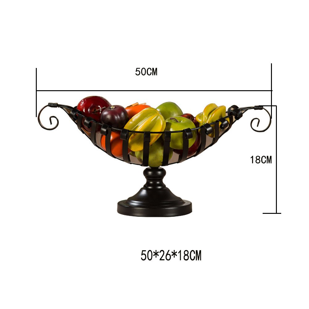 Comport Kitchen Fruit Basket Living Room Dim Sum Tray Wrought Iron Black (502618cm) by JANSUDY (Image #5)