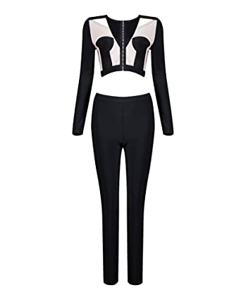 e550274dc155 Whoinshop Women s Long Sleeve Two Piece Sets Jacket and Legging Jumpsuit  Romper Pants Black XS