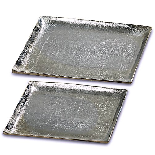 WHW Whole House Worlds Grand Hotel Silver Presentation Trays, Plates, Decorative Servers, Square, Set of 2, Hand Cast Aluminum, 16 and 13 1/2 Inches, Organizer Display (Dinning Room Suites)
