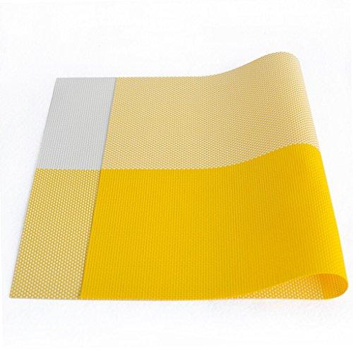 (LOFAMI Place Mats 1 Pcs PVC Kitchen Table Placemat Rectangular Non-Slip Bowl Plate Cup Pads Coasters Braided Heat Insulation Placemat (Color : C))