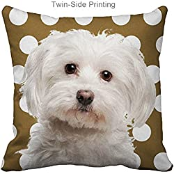Funny Sofa Pillow Covers Design Maltese Dog Polka Dot Pattern,Zippered,16x16 inch