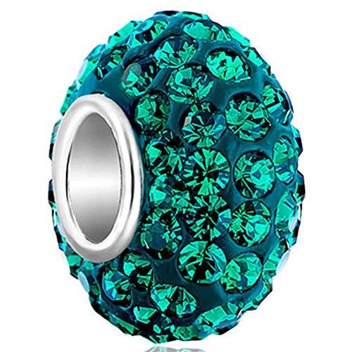 LovelyCharms Green 925 Silver Charm Beads For Bracelets ()