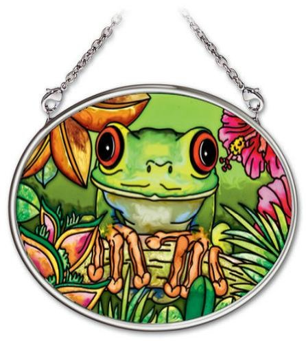 Amia 4-1/4 by 3-1/4-Inch Oval Hand-Painted Glass Suncatcher, Colorful Frog, Small