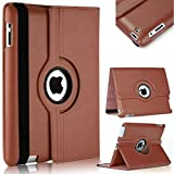 TGK 360 Degree Rotating Leather Case Cover Stand For iPad 4, iPad 3, iPad 2 - Brown