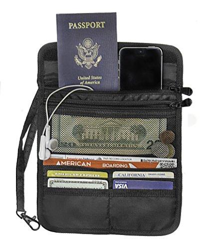 Smart Travel Organizers: Travel Wallet Black Safe Hidden Credit Card Pocket Passport Holder and Id Pouch.