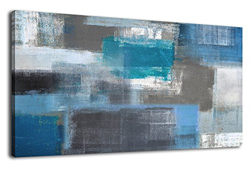 arteWOODS Canvas Wall Art Abstract Painting Large Canvas Artwork Blue Panoramic Wall Art for Home Office Decoration Framed Ready to Hang 24
