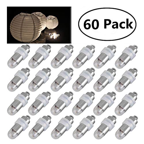 (Jofan 60pcs Warm White Mini Lights Paper Lantern Lights LED Balloon Lights for Floral Party Wedding Decoration (Waterproof and Submersible))