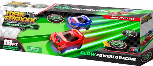 Max Traxxx Award Winning Tracer Racers Gravity Drive Dual Lane Track Set with 2 1:64 Scale Cars ()