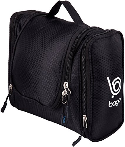 Hanging Toiletry Bag for Makeup & Cosmetic -Travel Toiletries Organizer ( Black )